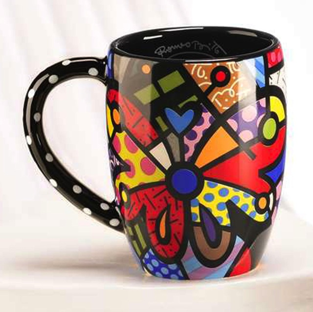 Britto Butterfly Round Mug 12 oz - White Spots on Black Arm