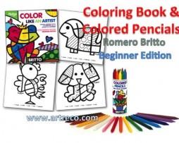 Romero Britto Coloring Book & Colored Pencils - Beginner Edition