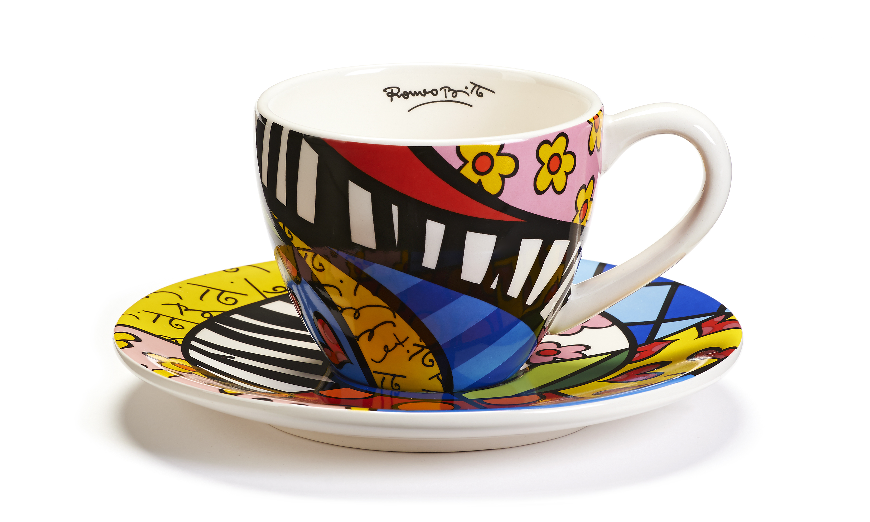 Britto Teacup Saucer Set Swirl Pattern Design Artreco
