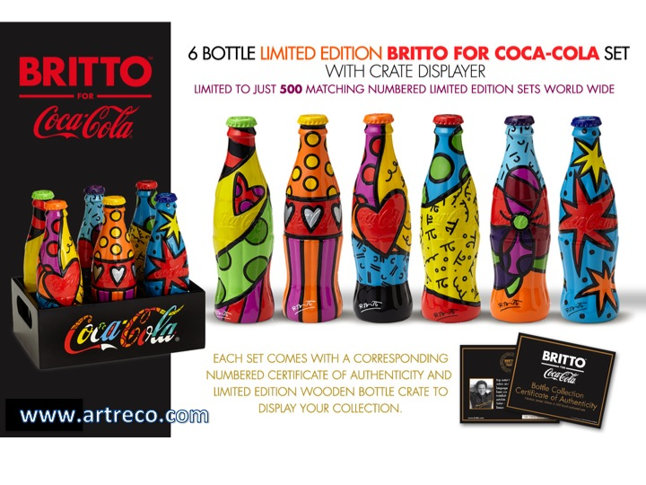 6 Bottle Limited Edition Britto Coca Cola Set Archives
