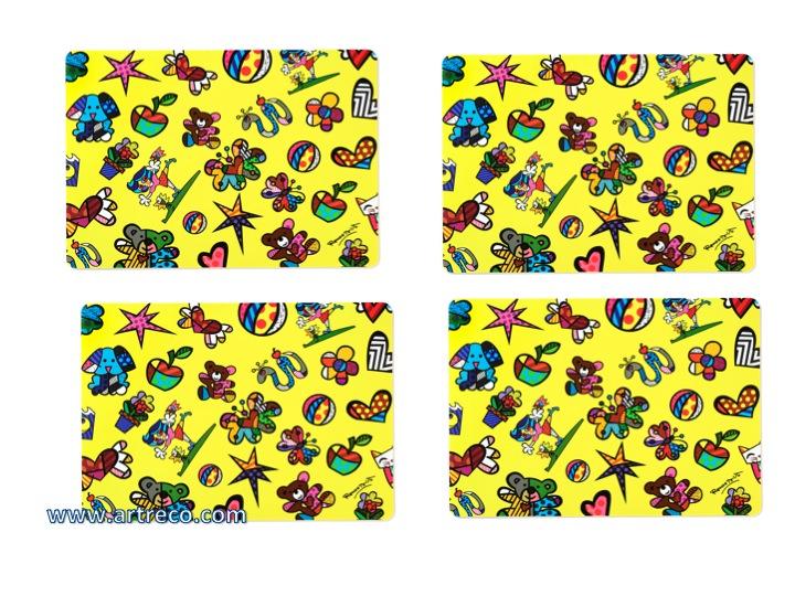 Romero Britto Set Of 4 Placemats Miniature Icons Artreco