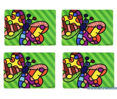 Romero Britto Set Of 4 Placemats Butterfly Artreco