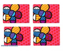 Set of 4 Romero Britto placemats - Flowers