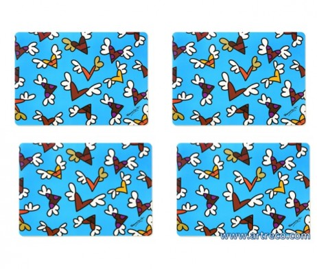 Romero Britto Set Of 4 Placemats Miniature Flying Hearts