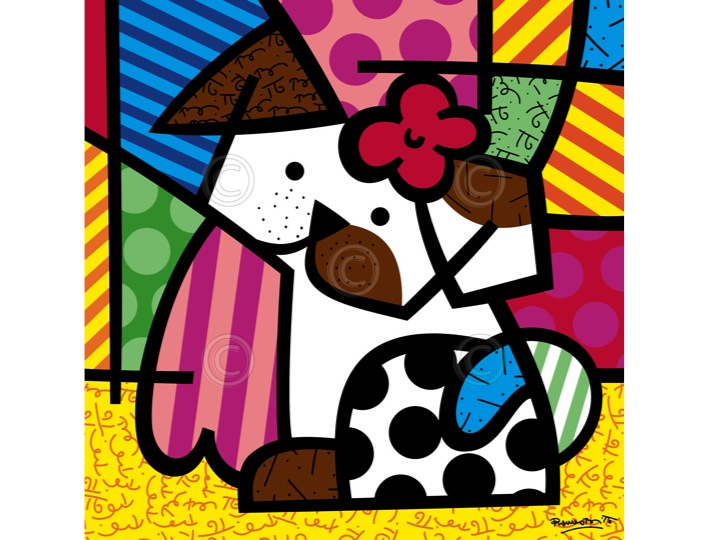 "fa2e9b3c8 ""Valley Dog"" Large Print by Romero Britto 12 x 12"