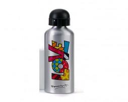 Romero Britto Silver Aluminum Water Bottle LOVE