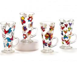 Britto Glass Latte Mugs, 4 Assorted Designs