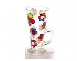 Romero Britto Glass Latte Mug - Flowers