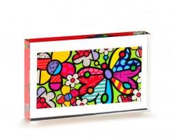 Romero Britto Glass Table Block - Butterflies & Hearts