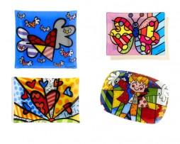 Romero Britto Glass Plates