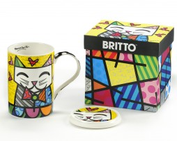 ROMERO BRITTO GIFT BOXED NEW BONE CHINA MUG W: LID - CAT