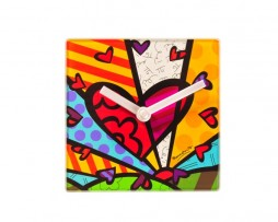 Romero Britto Glass Clock with Stand - A New Day