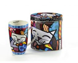 ROMERO BRITTO NEW BONE CHINA MUG IN GIFT TIN- CAT