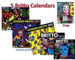 5 Romero Britto Calendars (2010, 2011, 2012, 2013, 2014)