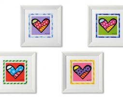 BRITTO A SET OF 4 MEDIUM WHITE FRAMED PRINTS - HEARTS
