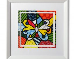 Romero Britto Large White Framed Print Butterfly