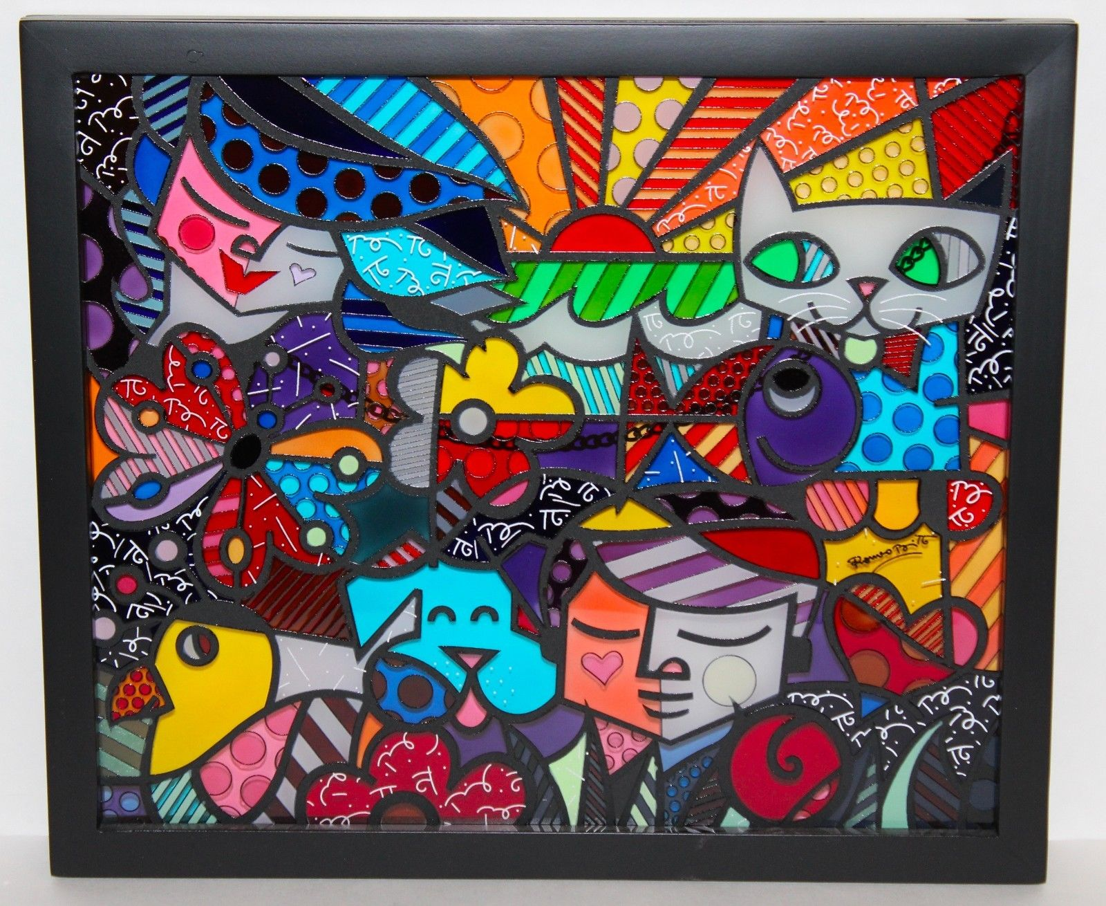 Romero Britto Glass Frame Panel Garden Artreco