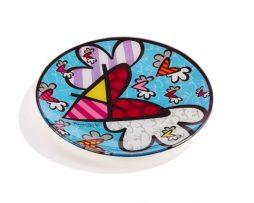 Romero Britto Glass Plate Circular Design - Flying Heart