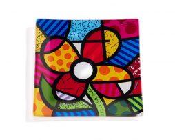 Romero Britto Squared Glass plate - Flower