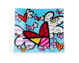Romero Britto Squared Glass plate - Flying Heart