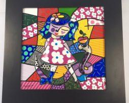 Romero Britto Girl with Snake Porcelain in Black Frame