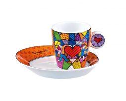Romero Britto Goebel Espresso Cup & Saucer Set- Heart Kids