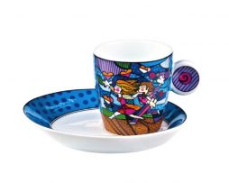 Romero Britto Goebel Expresso Cup & Dish Saucer - Love Blossoms