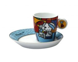 Romero Britto Goebel Expresso Cup & Saucer Set - Ginger