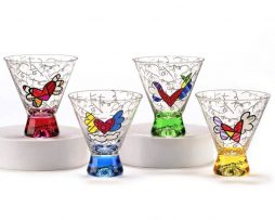 ROMERO BRITTO SHORT MARTINI GLASS - 4 ASST