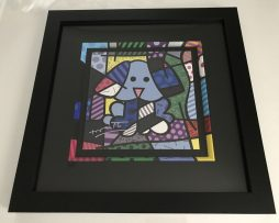 Romero Britto Blue Dog Painted Frame & hand signed by Britto