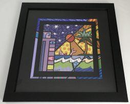 Romero Britto Hand signed print (Painted frame) - Miami Beach