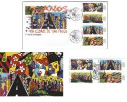 Romero Britto Lot of FDC, Post Card & 4 Stamps - 450 anos da Cidade de Sao Paulo