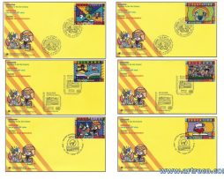 Set of 6 United Nations Romero Britto FDC envelopes - Education Keystone to the 21st Century