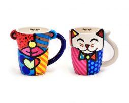 Britto Design Mugs: Teddy Bear & Cat